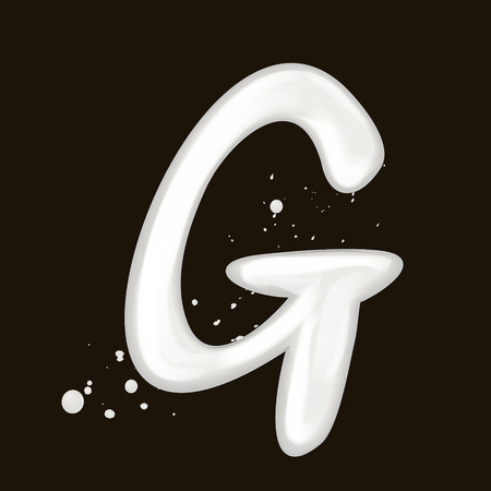 3d milk letter G isolated on black background Illustration