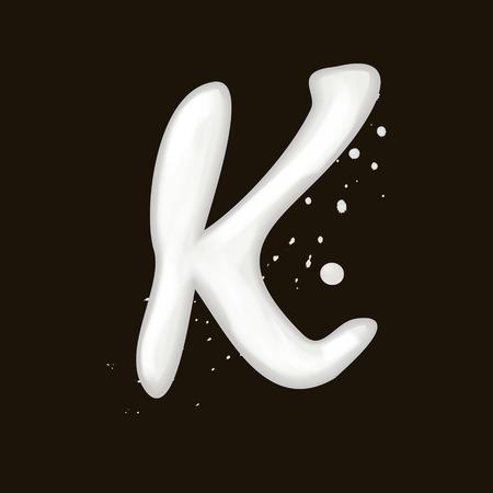 buchstabe k: 3d Milch Buchstaben K isoliert auf schwarzem Hintergrund Illustration