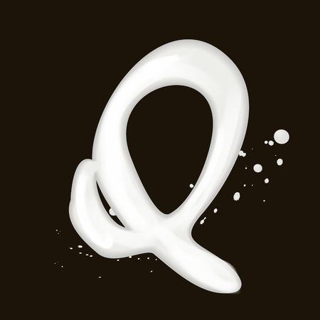letter q: 3d milk letter Q isolated on black background