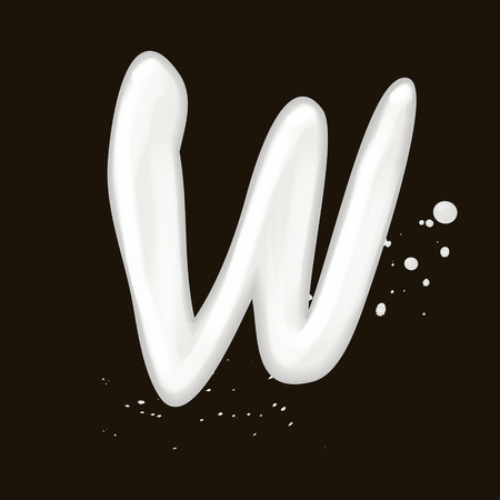 letter w: 3d milk letter W isolated on black background