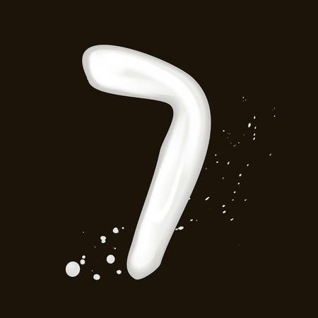 number 7: 3d milk number 7 isolated on black background Illustration