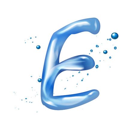 e white: 3d water letter E isolated on white background