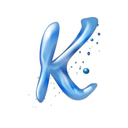 letter k: 3d water letter K isolated on white background Illustration