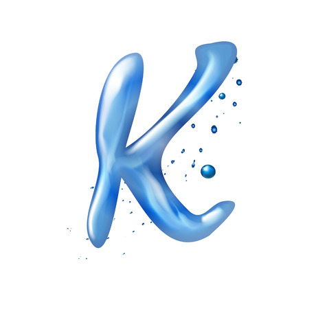 3d water letter K isolated on white background Illustration