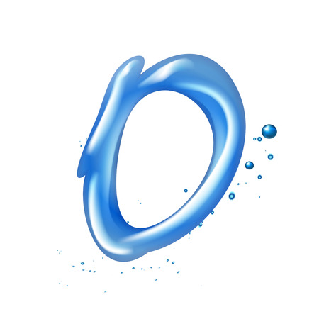 cocao: 3d water letter O isolated on white background Illustration