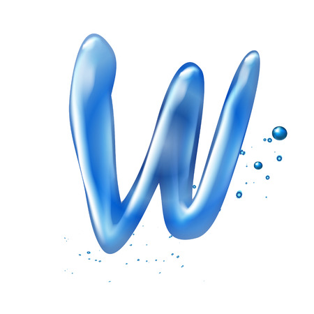 letter w: 3d water letter W isolated on white background