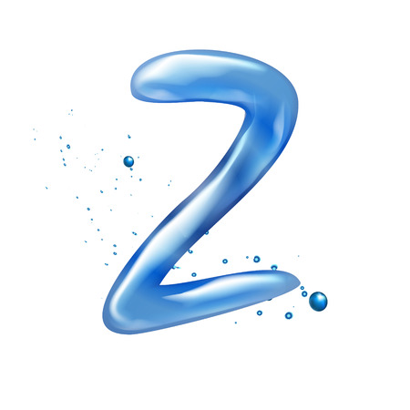 letter z: 3d water letter Z isolated on white background