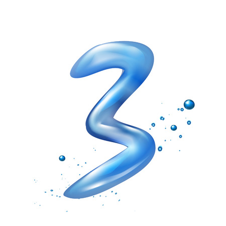 number 3: 3d water number 3 isolated on white background Illustration