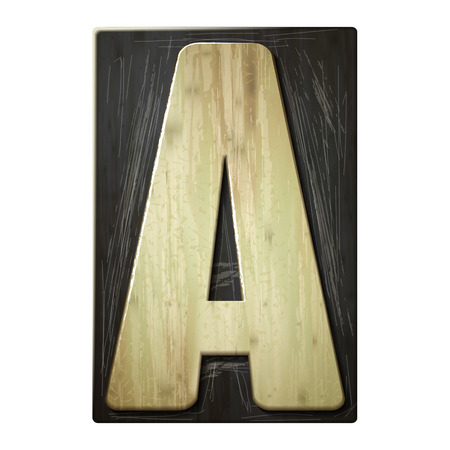 3d wood letterpress alphabet A isolated on white background Vector