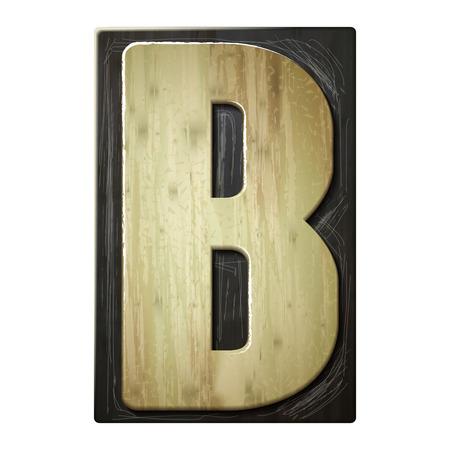 3d wood letterpress alphabet B isolated on white background Vector
