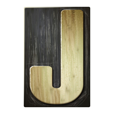 3d wood letterpress alphabet J isolated on white background Illustration