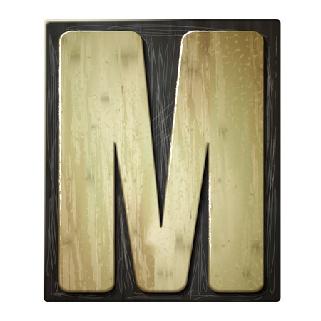 patina: 3d wood letterpress alphabet M isolated on white background