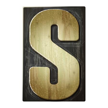 3d wood letterpress alphabet S isolated on white background Vector