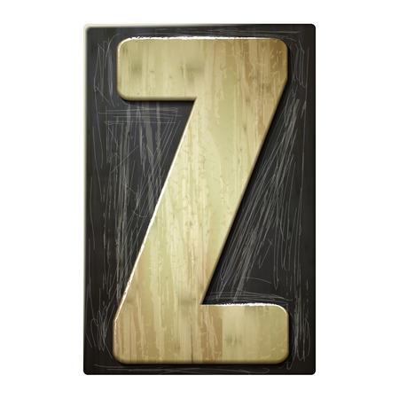 letter z: 3d wood letterpress alphabet Z isolated on white background Illustration