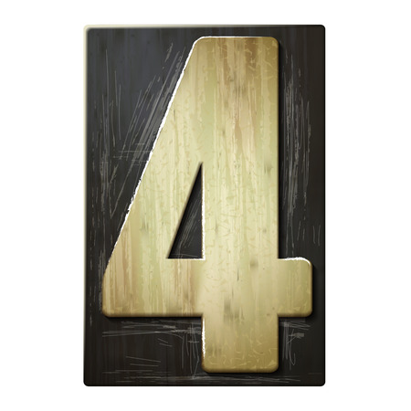 number 4: 3d wood letterpress number 4 isolated on white background Illustration