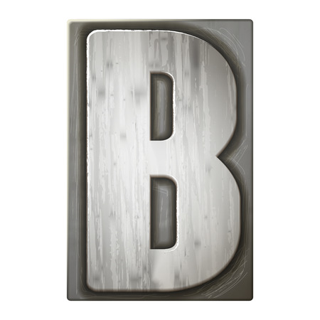 3d silver letterpress alphabet B isolated on white background Vector