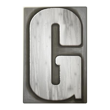 3d silver letterpress alphabet G isolated on white background
