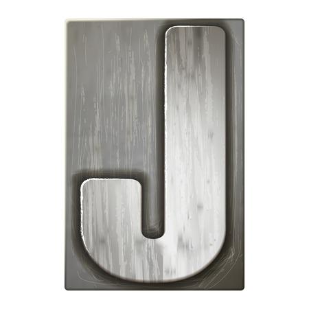 3d silver letterpress alphabet J isolated on white background