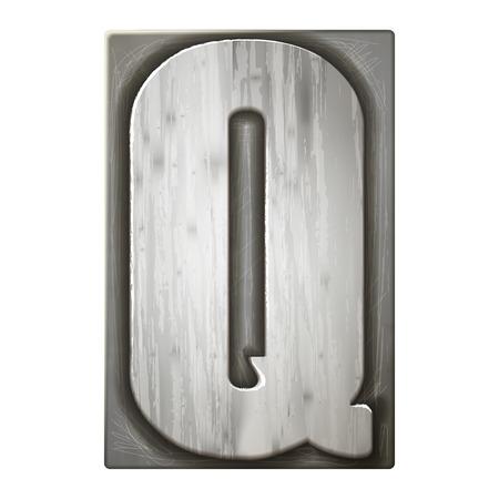3d silver letterpress alphabet Q isolated on white background Vettoriali
