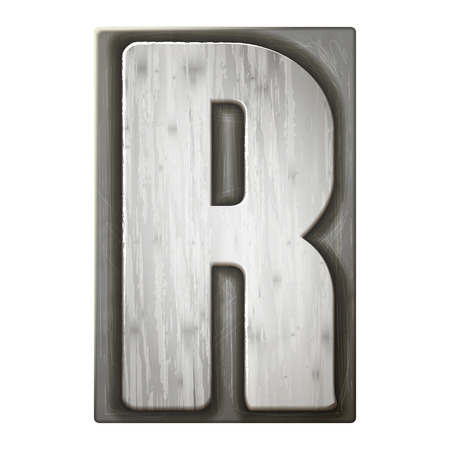 r: 3d silver letterpress alphabet R isolated on white background Illustration