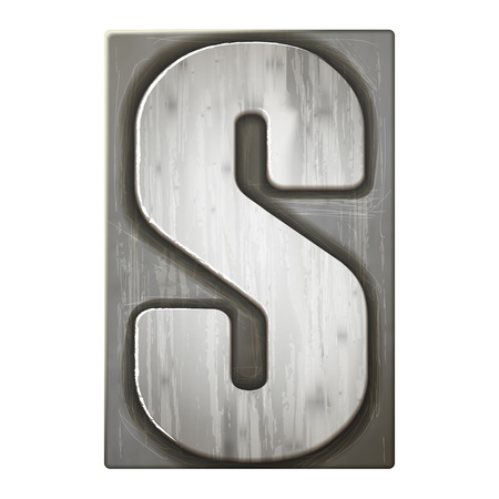 letterpress: 3d silver letterpress alphabet S isolated on white background Illustration