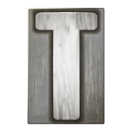 t square: 3d silver letterpress alphabet T isolated on white background Illustration