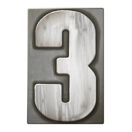 3d silver letterpress number 3 isolated on white background  イラスト・ベクター素材