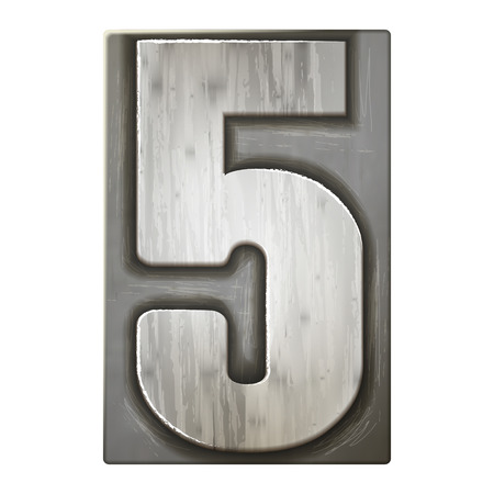 number 5: 3d silver letterpress number 5 isolated on white background