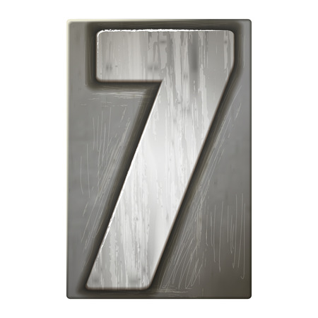 number 7: 3d silver letterpress number 7 isolated on white background