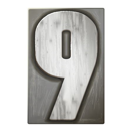 3d silver letterpress number 9 isolated on white background