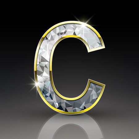 diamond letter: 3d lettera lucido diamante C isolato su sfondo nero Vettoriali