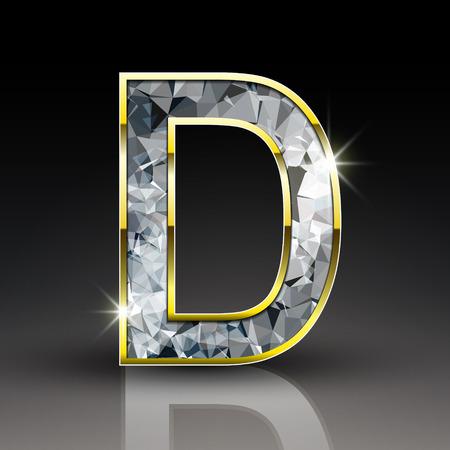 diamond letter: 3d lettera lucido diamante D isolato su sfondo nero