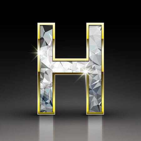 3d glanzende diamant letter H geïsoleerd op een zwarte achtergrond Stock Illustratie