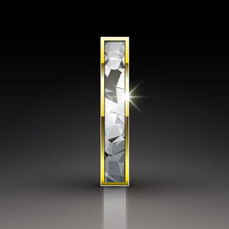 letter i: 3d shiny diamond letter I isolated on black background