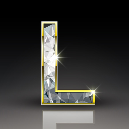 3d shiny diamond letter L isolated on black background