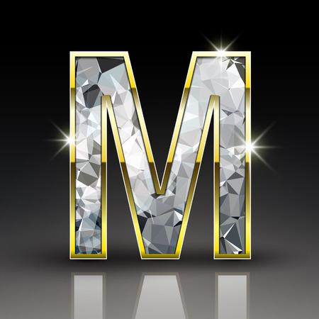 uppercase: 3d shiny diamond letter M isolated on black background