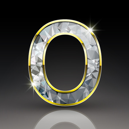 diamond letter: 3d shiny diamond letter O isolated on black background