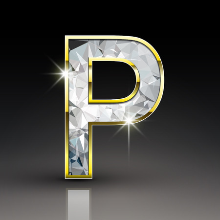 3d shiny diamond letter P isolated on black background