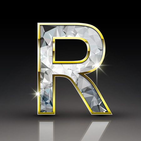 r: 3d shiny diamond letter R isolated on black background
