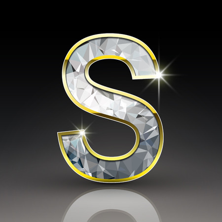 3d shiny diamond letter S isolated on black background Illustration