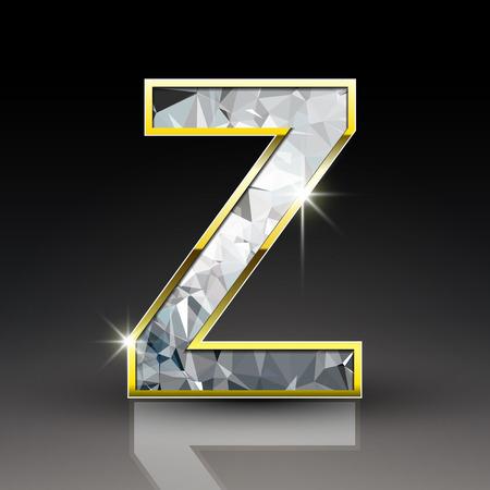 buchstabe z: 3d shiny diamond letter Z auf schwarzem Hintergrund isoliert