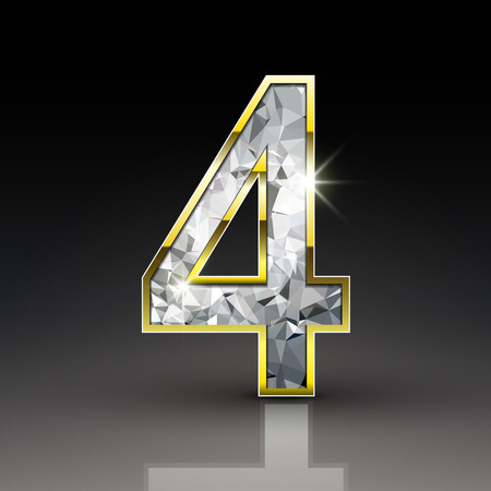 number 4: 3d shiny diamond number 4 isolated on black background