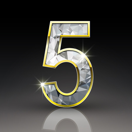 diamond letter: 3d shiny diamond number 5 isolated on black background Illustration