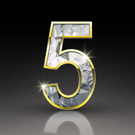 diamond letters: 3d shiny diamond number 5 isolated on black background Illustration