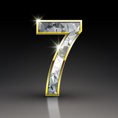 3d shiny diamond number 7 isolated on black background