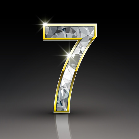 number 7: 3d shiny diamond number 7 isolated on black background