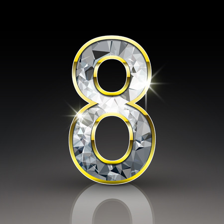 number 8: 3d shiny diamond number 8 isolated on black background