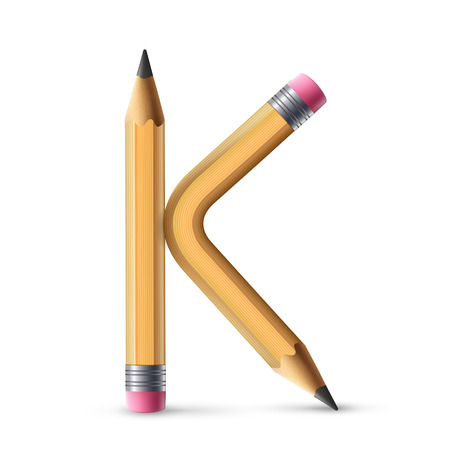letter k: 3d yellow pencil alphabet K isolated on white background Illustration