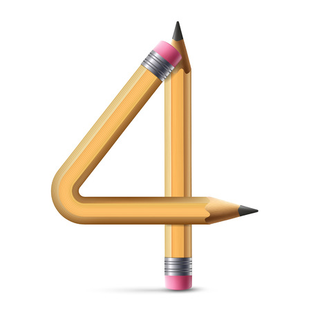 number 4: 3d yellow pencil number 4 isolated on white background
