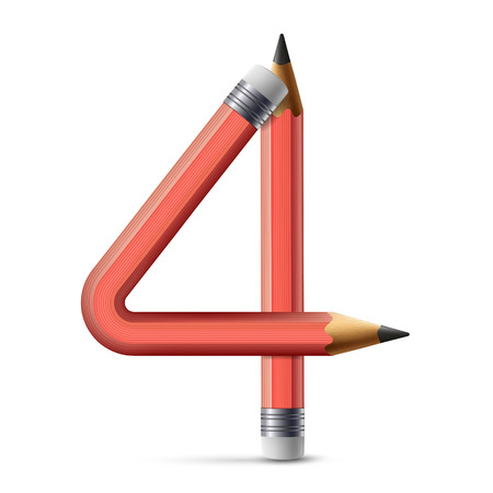 number 4: 3d pink pencil number 4 isolated on white background Illustration